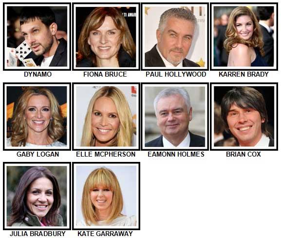 100 Pics TV Stars Level 41-50 Answers