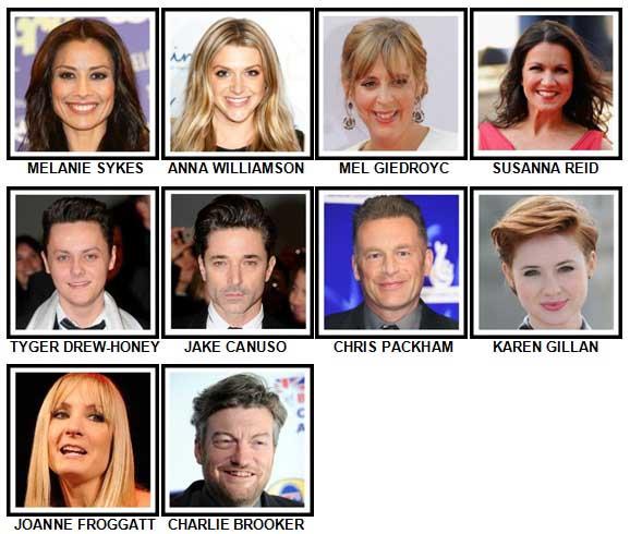 100 Pics TV Stars Level 91-100 Answers