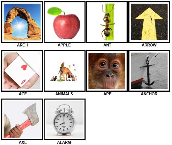 100 Pics A is For Answers 1-10