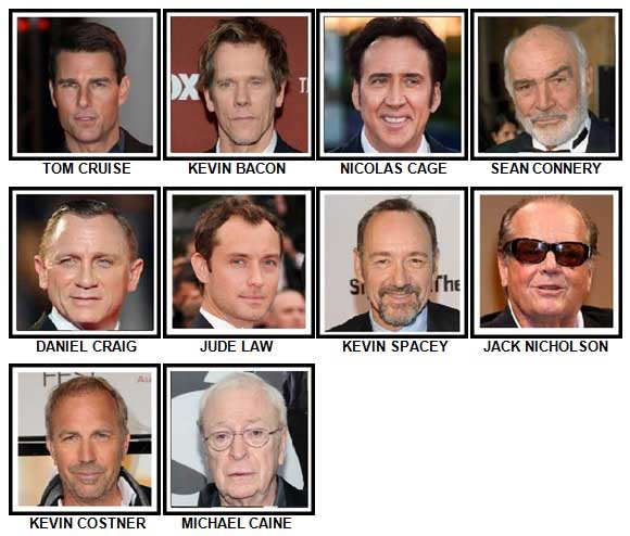 100 Pics Actors Answers Level 1-10