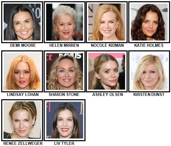 100 Pics Actresses Level 1-10 Answers