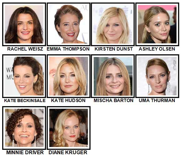 100 Pics Actresses Level 11-20 Answers