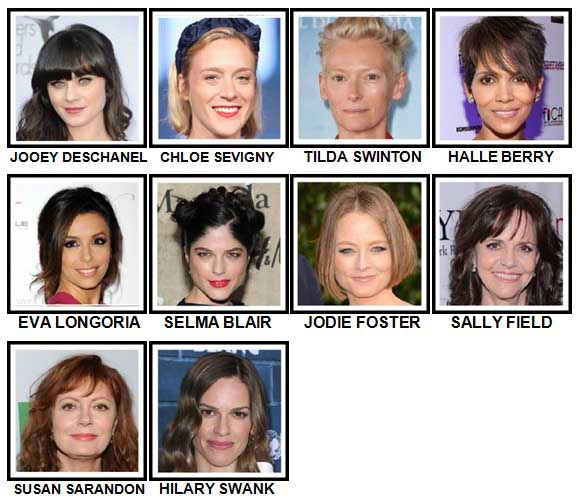 100 Pics Actresses Level 31-40 Answers