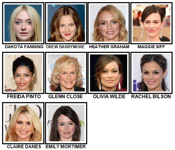 100 Pics Actresses Level 41-50 Answers