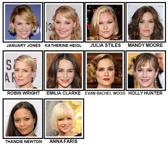 100 Pics Actresses Level 51-60 Answers