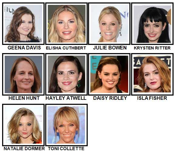 100 Pics Actresses Level 71-80 Answers