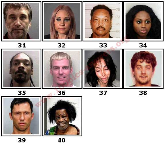 100 Pics Celeb Mugshots Level 31 Answers