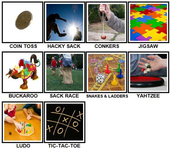 100 Pics Games Level 51-60 Answers