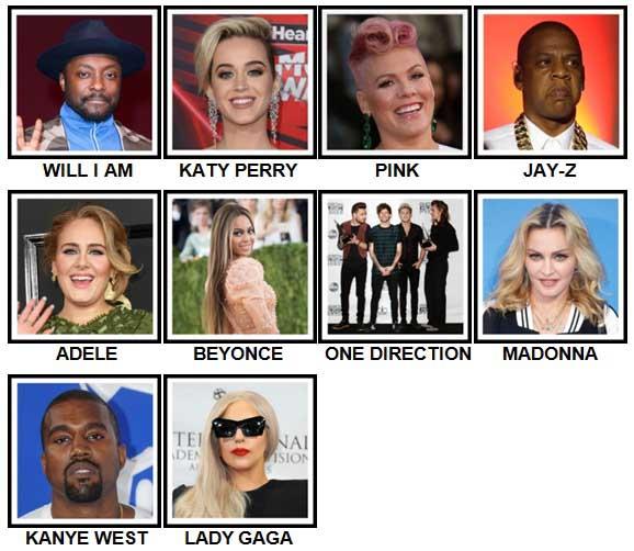 100 Pics Music Stars 1 Answers | 100 Pics Answers