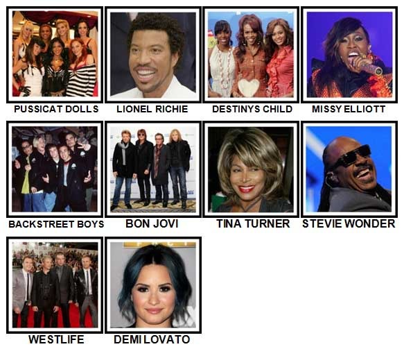 100 Pics Music Stars 1 Level 51-60 Answers