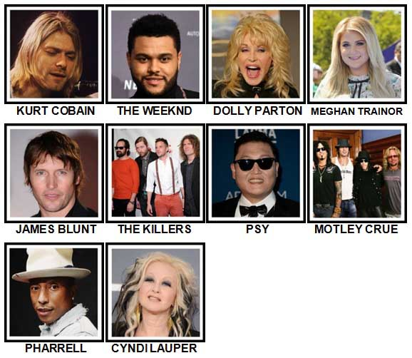 100 Pics Music Stars 1 Level 61-70 Answers