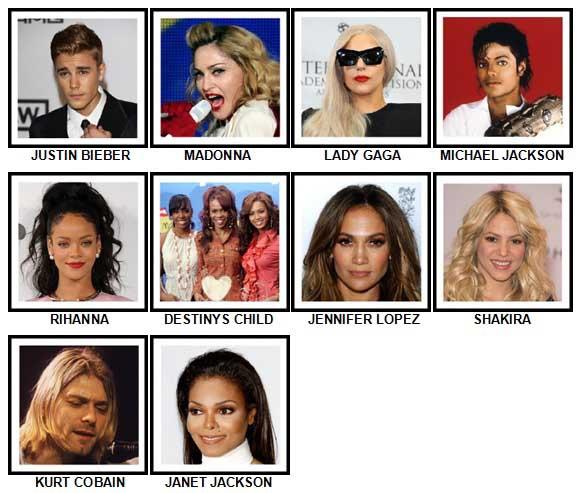 100 Pics Music Stars Answers 1-10