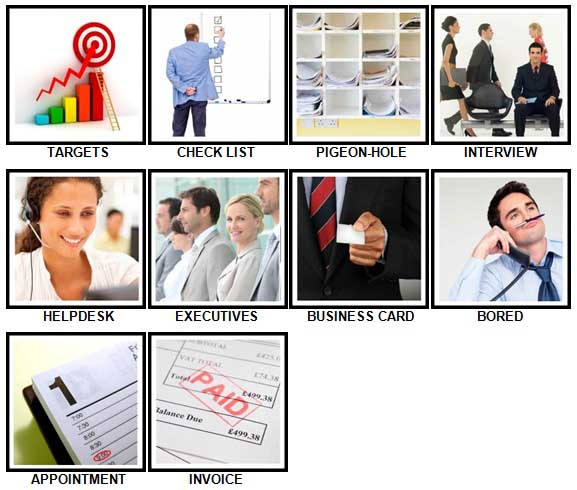 100 Pics Office Level 61-70 Answers