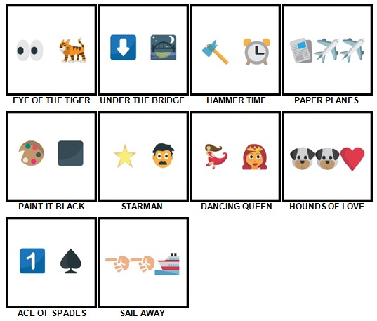 100 Pics Song Puzzles Answers 11-20
