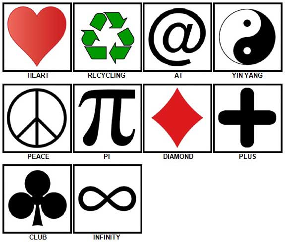 100 Pics Symbols Answers 1-10