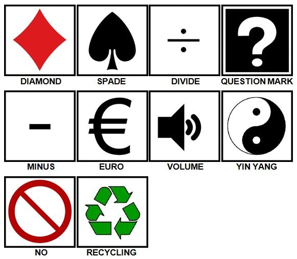100 Pics Symbols Level 11-20 Answers
