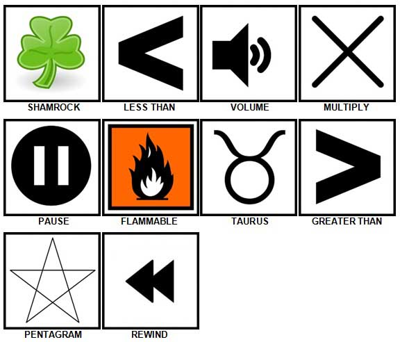 100 Pics Symbols Level 31-40 Answers