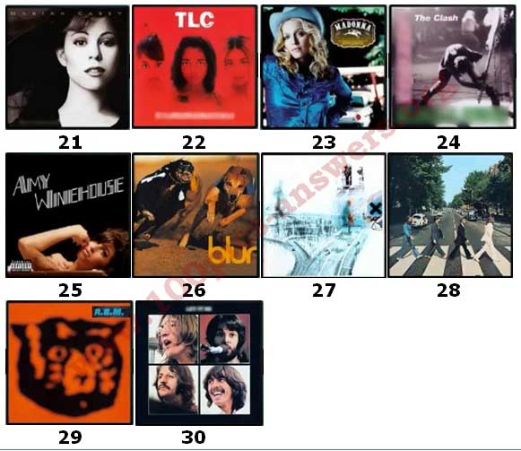 100 Pics Album Covers Answers Level 21