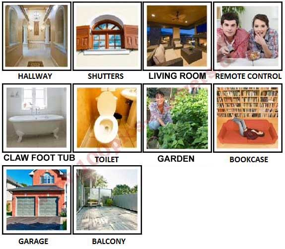 100 Pics Around The House Level 41-50 Answers