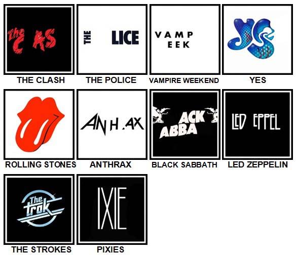 100 Pics Band Logos Level 31-40 Answers