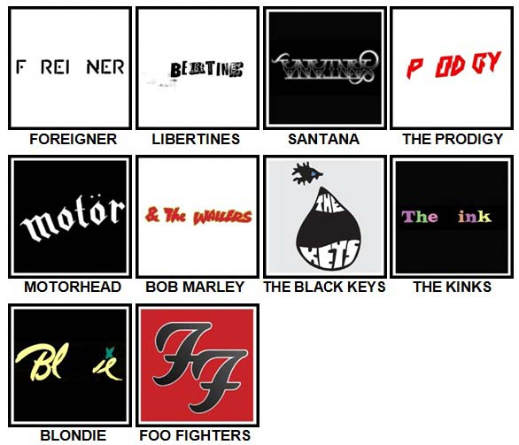 100 Pics Band Logos Level 51-60 Answers
