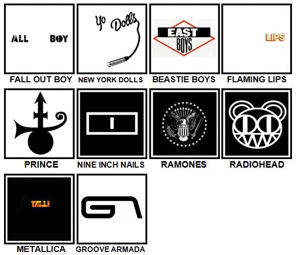 100 Pics Band Logos Level 81-90 Answers