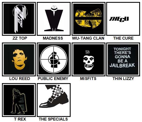 100 Pics Band Logos Level 91-100 Answers