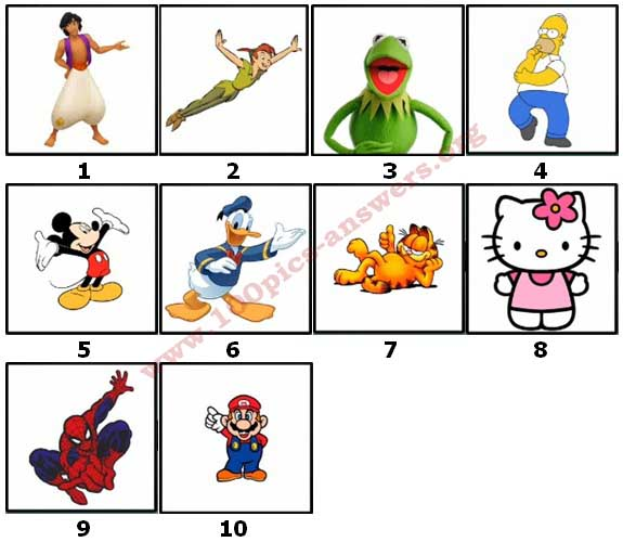 100 Pics Cartoon Characters 2 Level 1 Answers