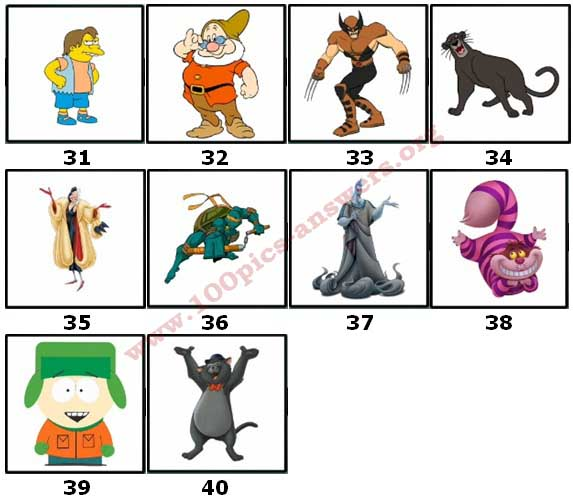 100 Pics Cartoon Characters 2 Level 31 Answers
