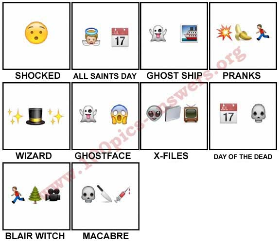 100 Pics Halloween Emoji Level 61-70 Answers