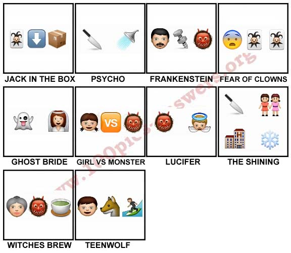 100 Pics Halloween Emoji Level 81-90 Answers