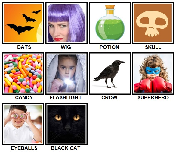 100 Pics Halloween Level 11-20 Answers