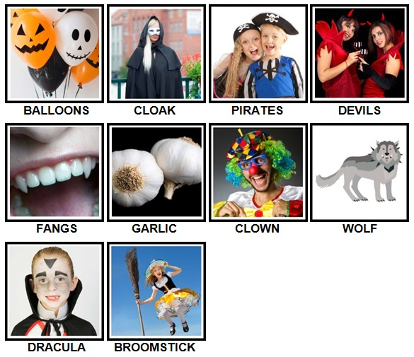 100 Pics Halloween Level 31-40 Answers
