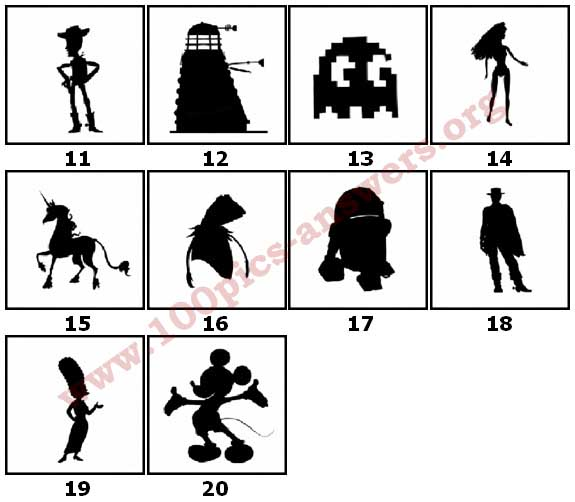 100 Pics Silhouettes Answers Level 11