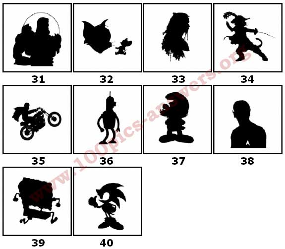 100 Pics Silhouettes Answers Level 31