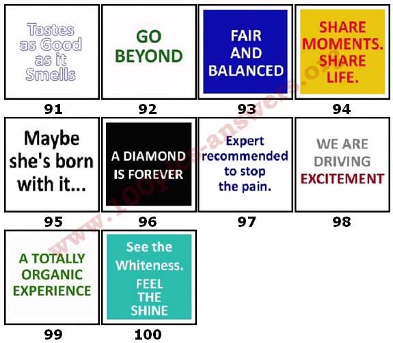 100 Pics Slogans Level 91-100 Answers | 100 Pics Answers