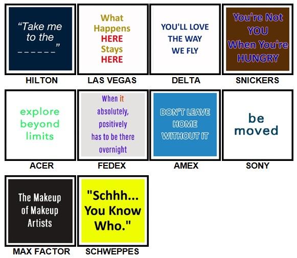 100 Pics Slogans Level 51-60 Answers