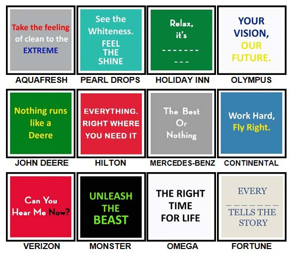 100 Pics Slogans Level 81-90 Answers