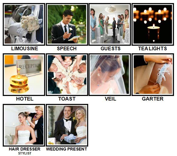 100 Pics Weddings Level 21-30 Answers