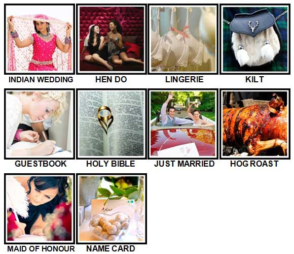100 Pics Weddings Level 61-70 Answers