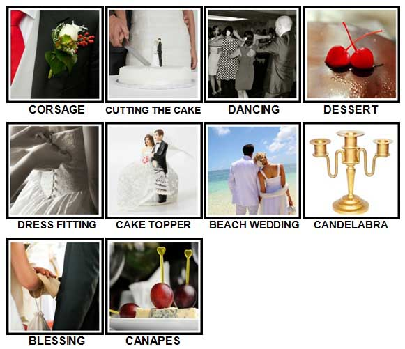 100 Pics Weddings Level 81-90 Answers