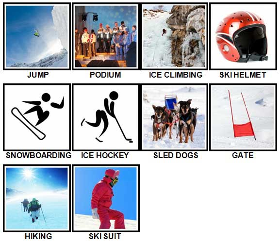 100 Pics Winter Sports Level 11-20 Answers