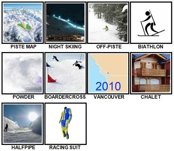 100 Pics Winter Sports Level 41-50 Answers