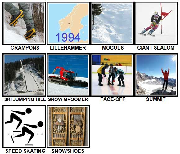 100 Pics Winter Sports Level 61-70 Answers