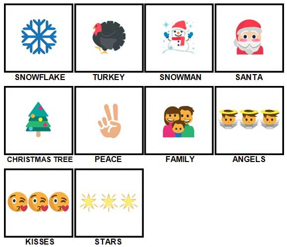 100 Pics Christmas Emoji Level 1-10 Answers