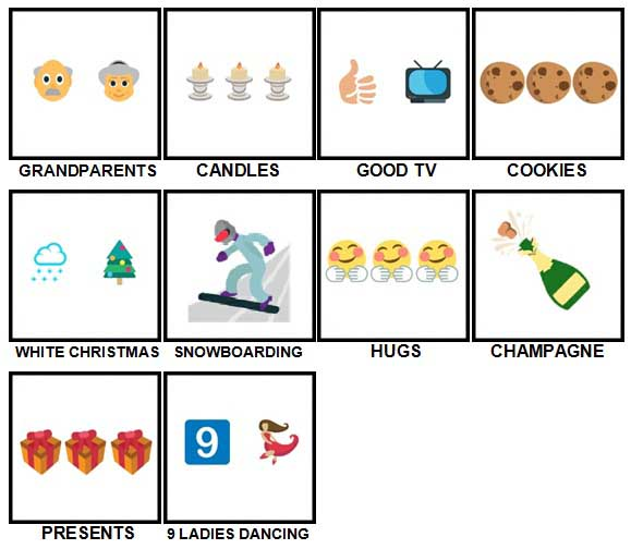 100 Pics Christmas Emoji Level 11-20 Answers