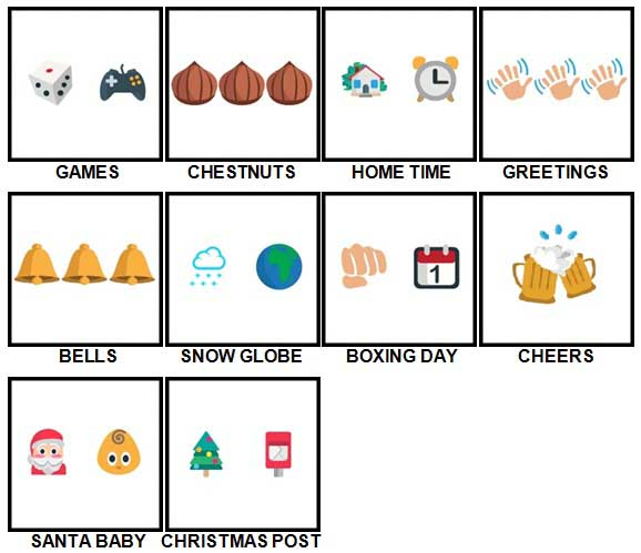 100 Pics Christmas Emoji Level 31-40 Answers