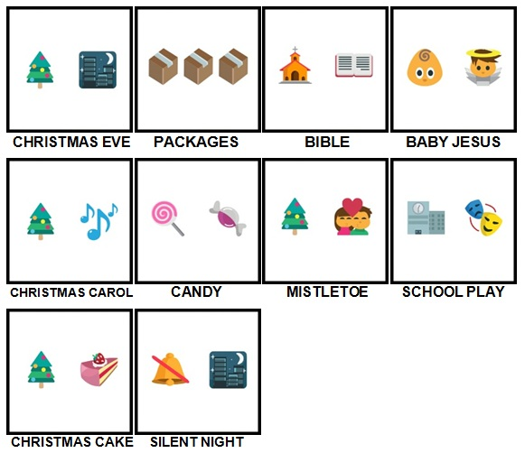 100 Pics Christmas Emoji Level 41-50 Answers
