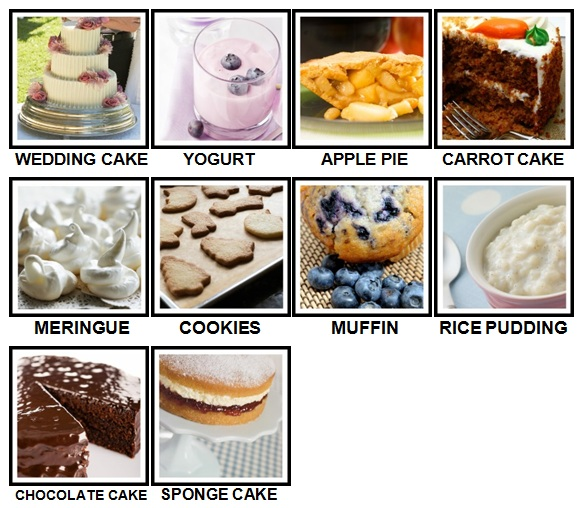 100 Pics Desserts Level 11-20 Answers
