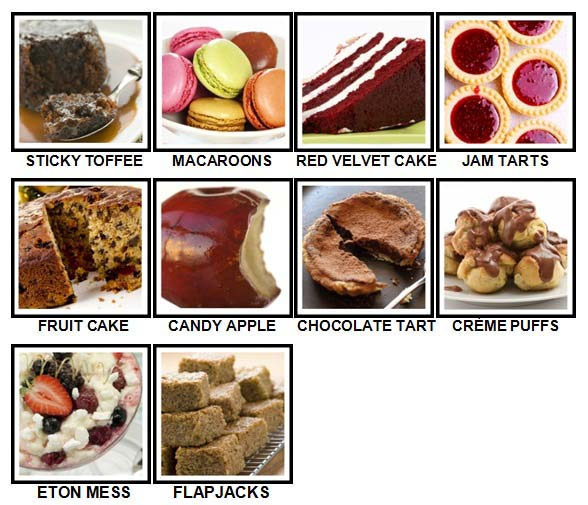100 Pics Desserts Level 41-50 Answers